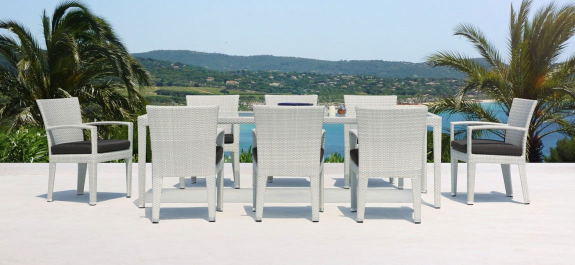 Eight Seat Rattan Outdoor Dining Set White