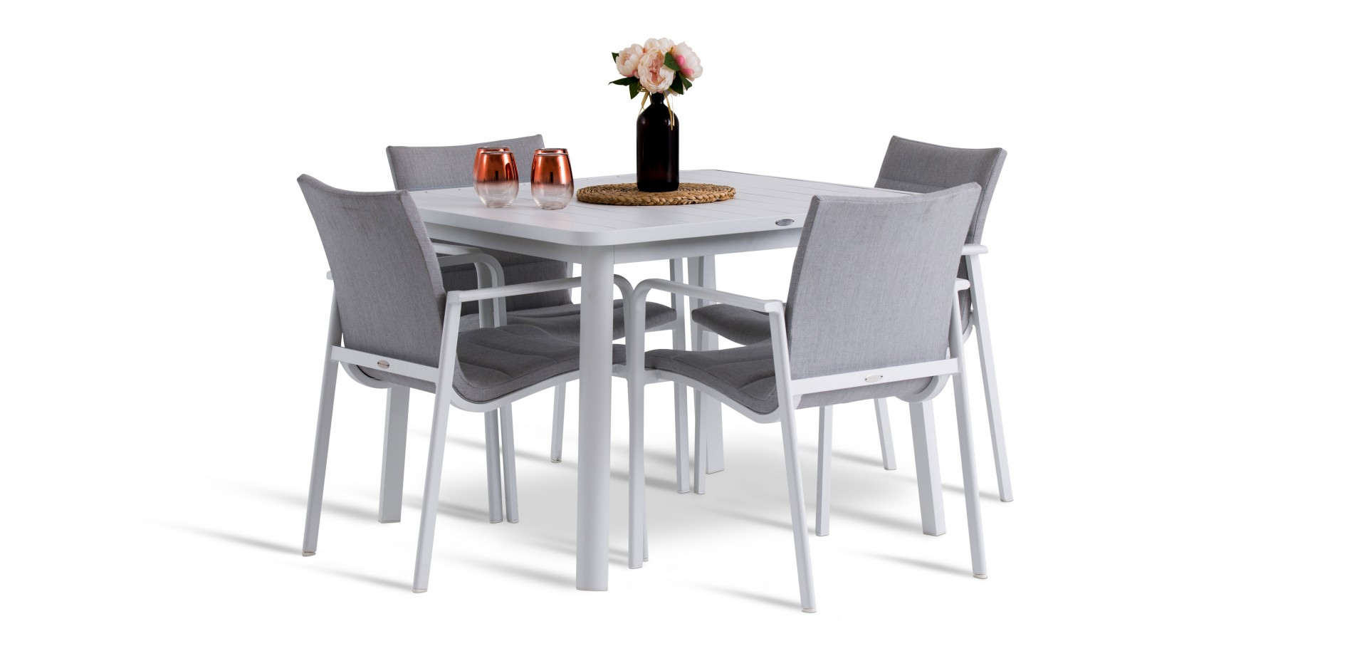 Santa Monica Outdoor Chairs and White Table