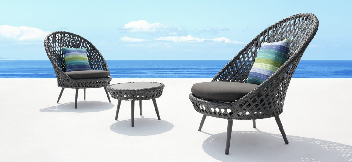 Siena Slate Grey Wicker Outdoor Lounge Chairs