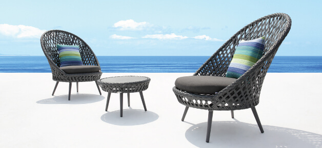 Slate Grey Wicker Outdoor Lounge Chairs