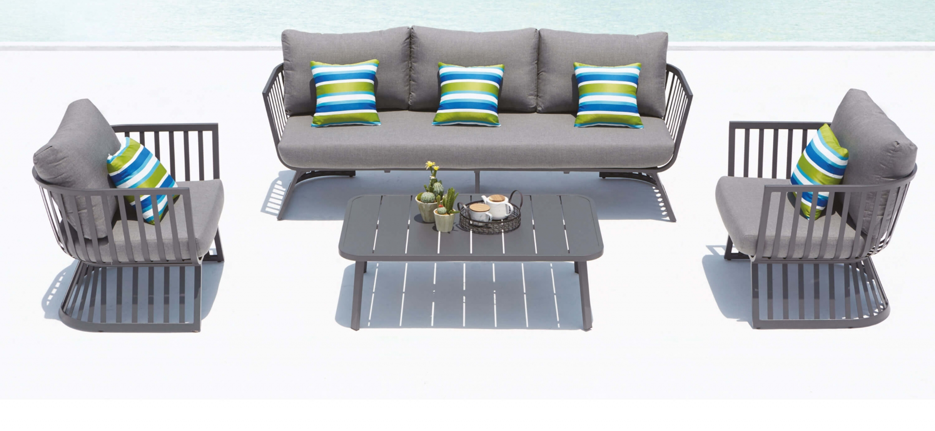 Outdoor Lounge Furniture Dark Grey Cuba