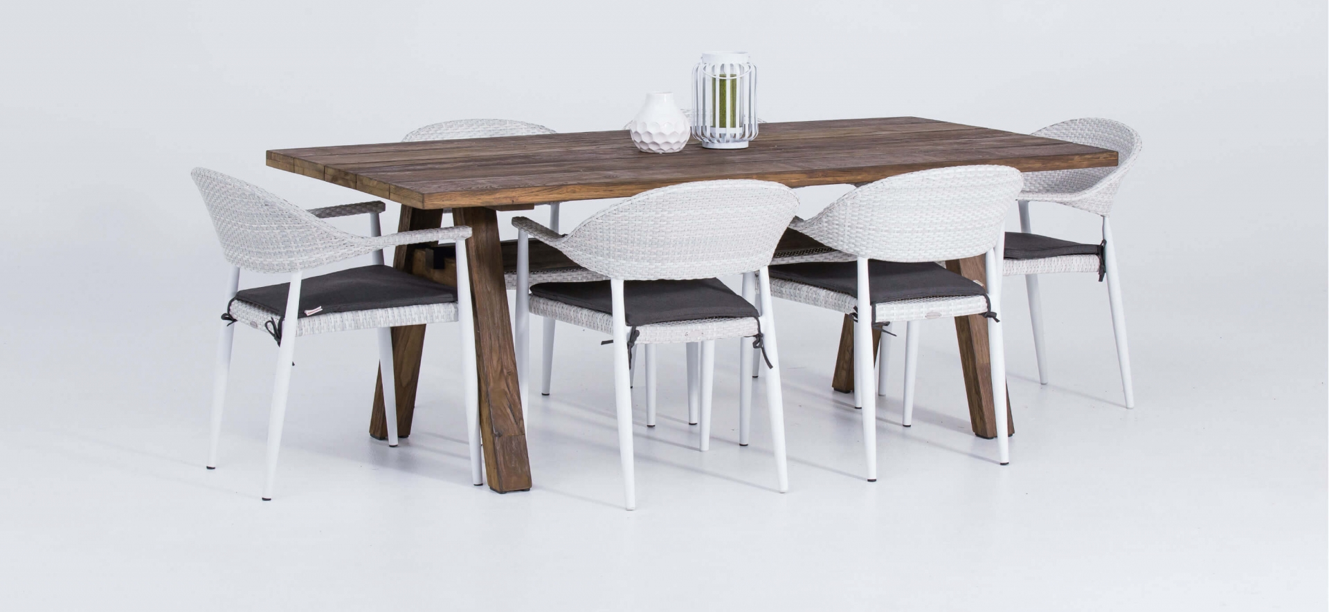 Outdoor Teak 2m Table and White Rio Chairs