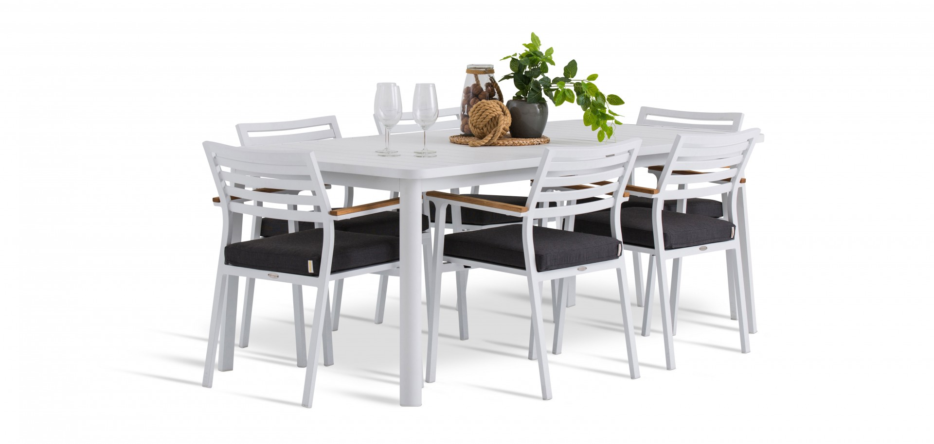 Athens Outdoor Chairs with Table White