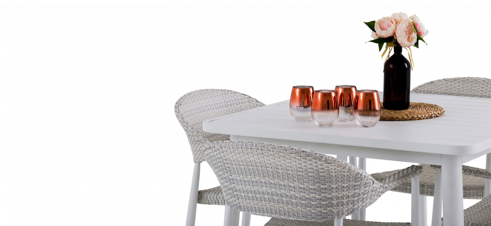 Rio Outdoor Chairs with Table White