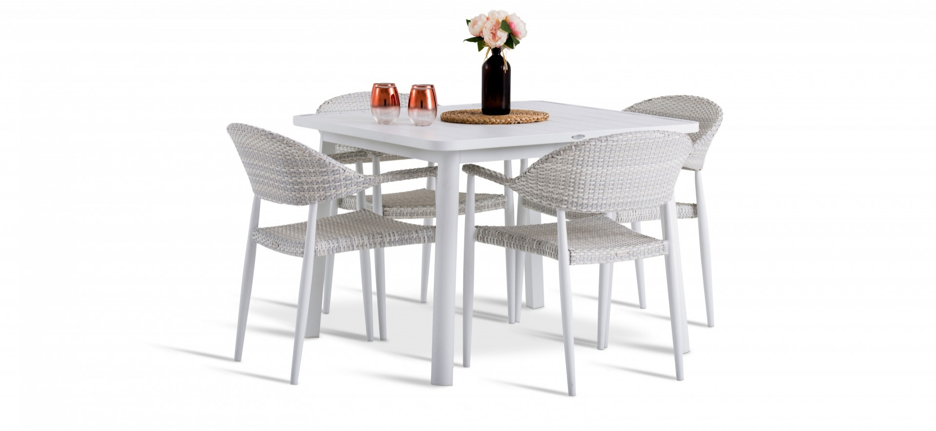 Rio Outdoor Chairs with White Seat Table