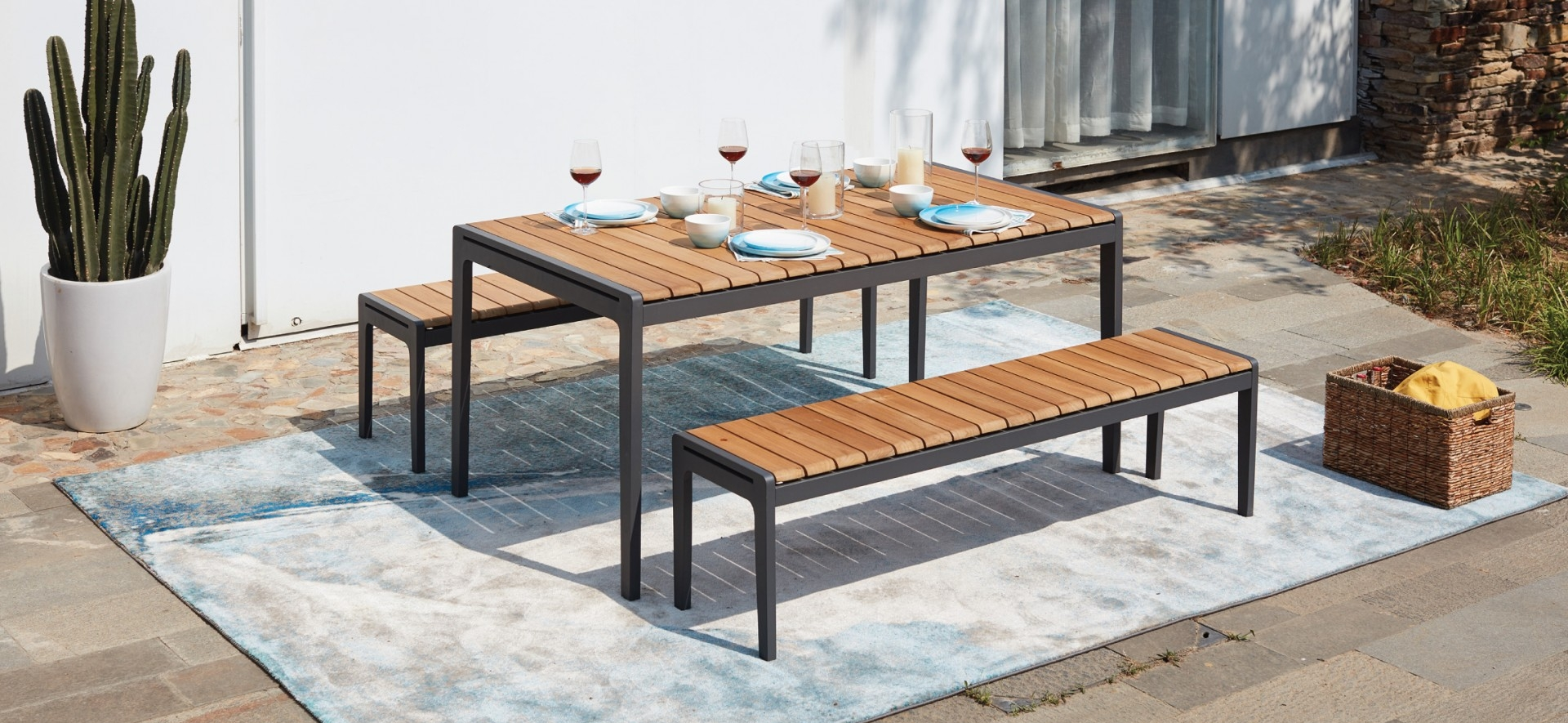 Teak Outdoor Dining Table with Bench Seats