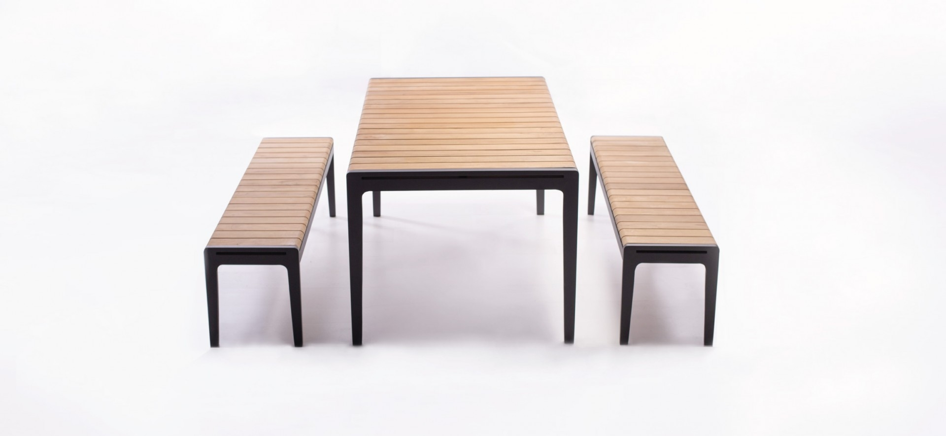 Teak Outdoor Dining Table and Bench Seats