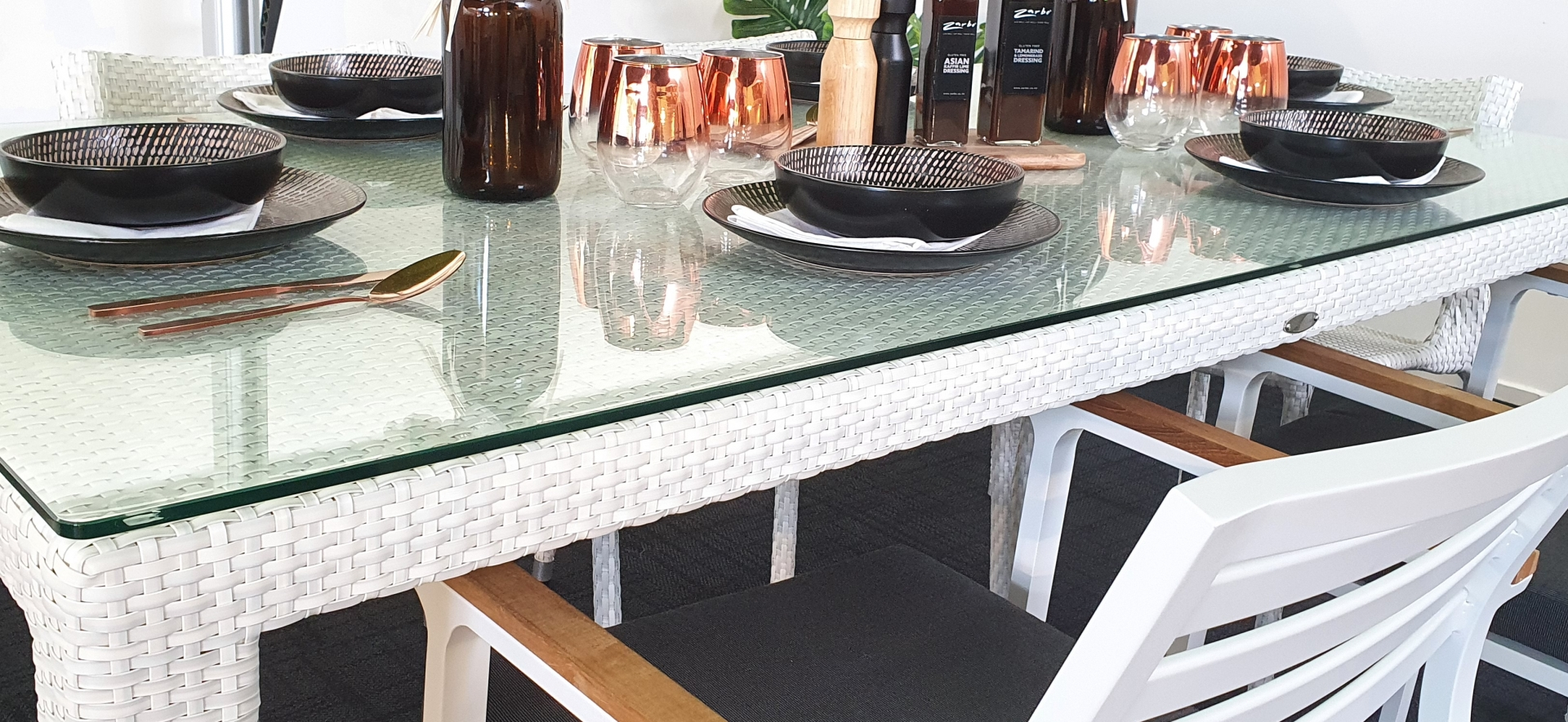 Woven Table with Glass Top